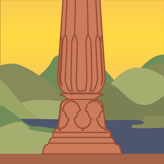 Stylized Lotus Ornamentation on a Baluster